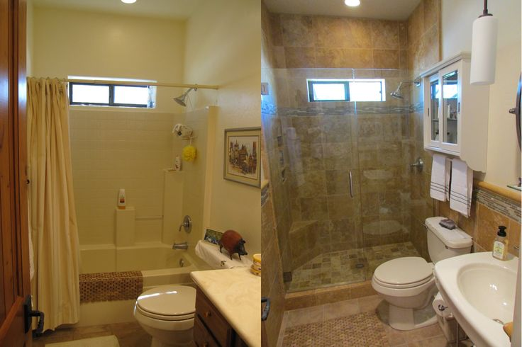 and bathroom with curbed in dumpster a tub budget walk blog pale conversion to converted shower beige bathtub blue diy open